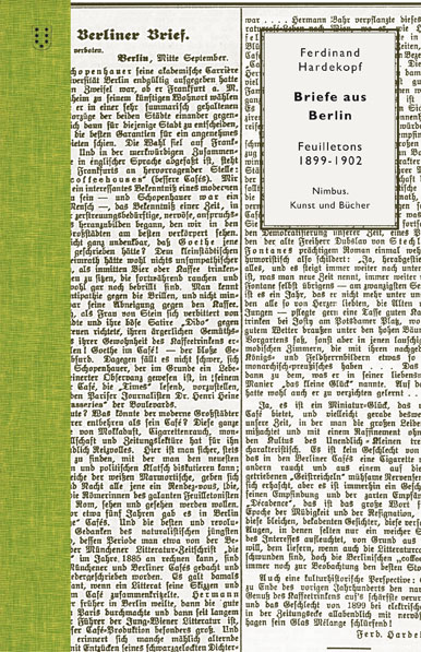 Ferdinand Hardekopf Briefe aus Berlin. Feuilletons 1899 - 1902